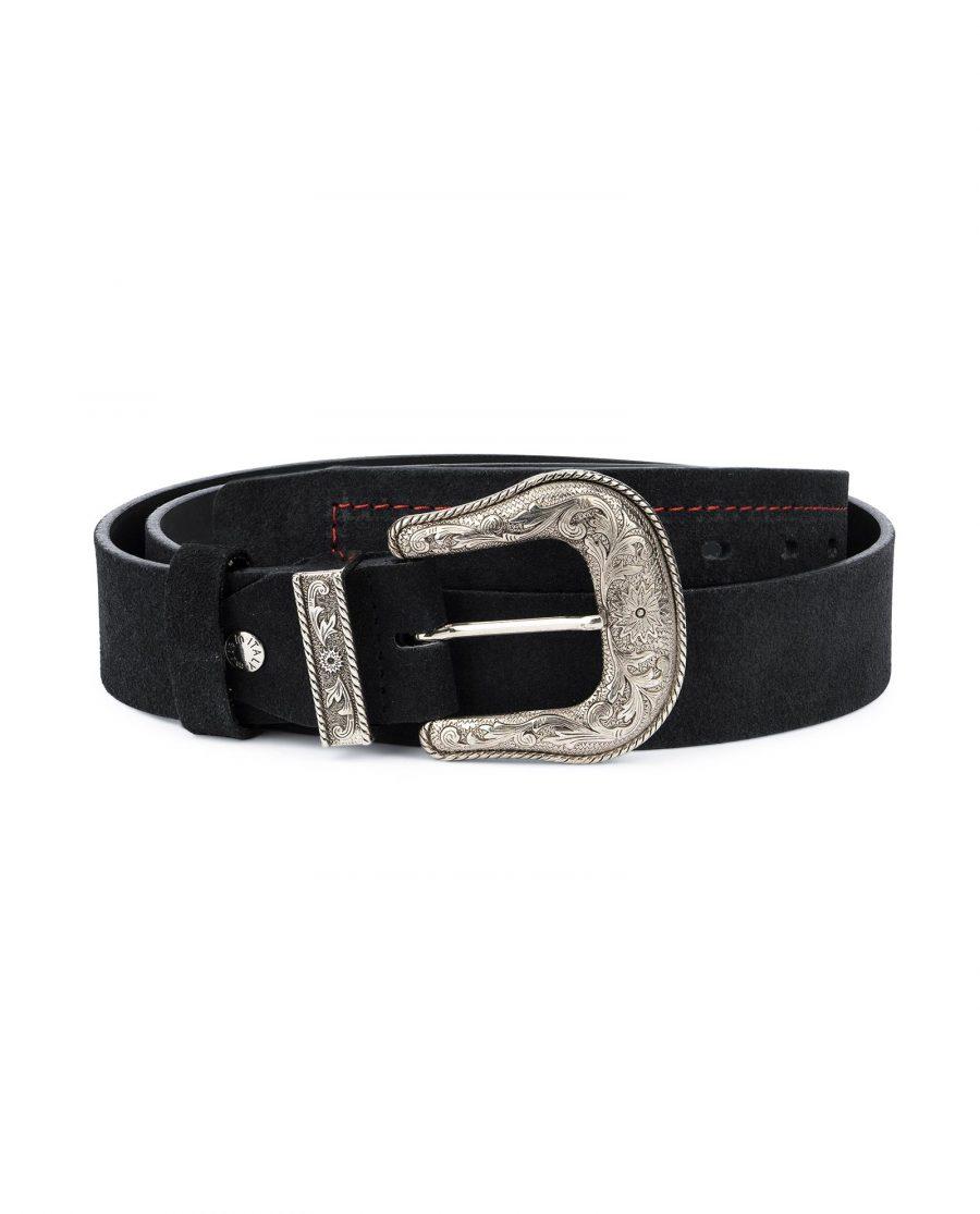 Black Cowboy Belt for Men Suede Leather 1