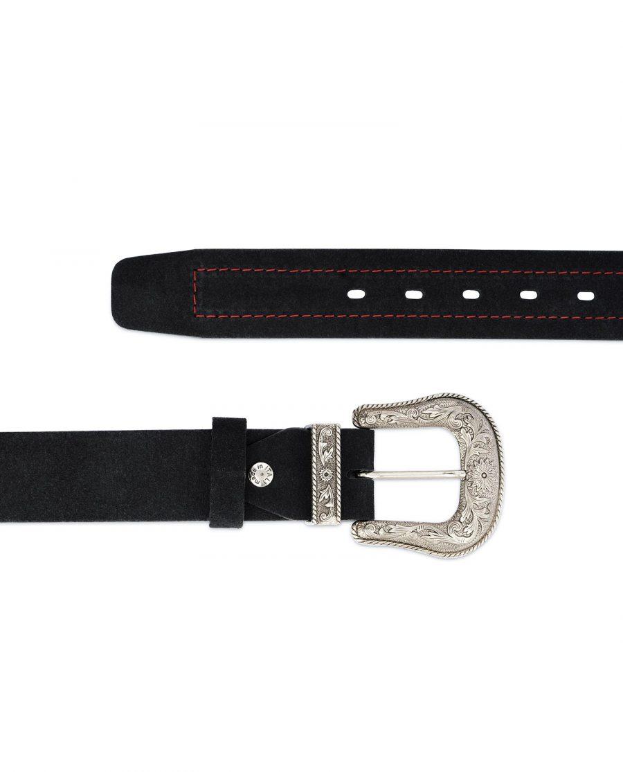 Black Cowboy Belt for Men Suede Leather 2