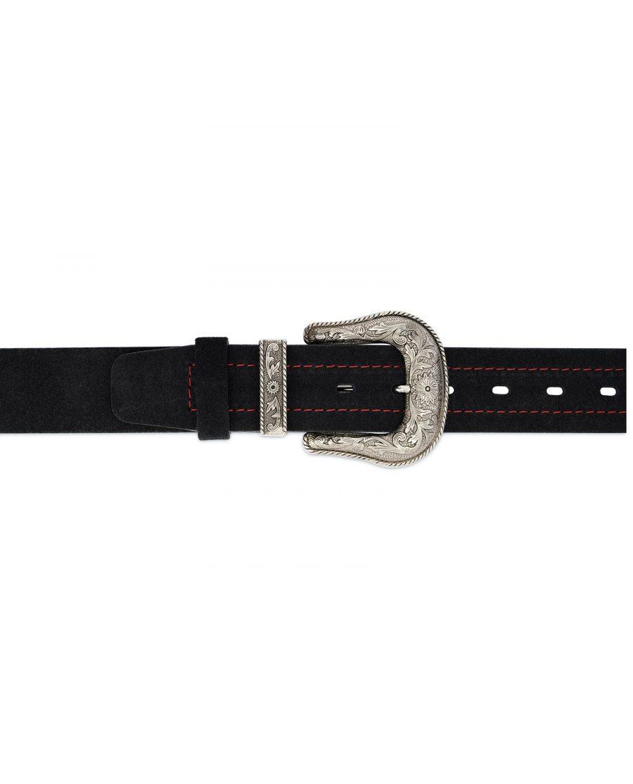 Black Cowboy Belt for Men Suede Leather 3