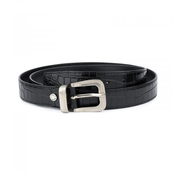 Black Crocodile Embossed Leather Belt For Men 1