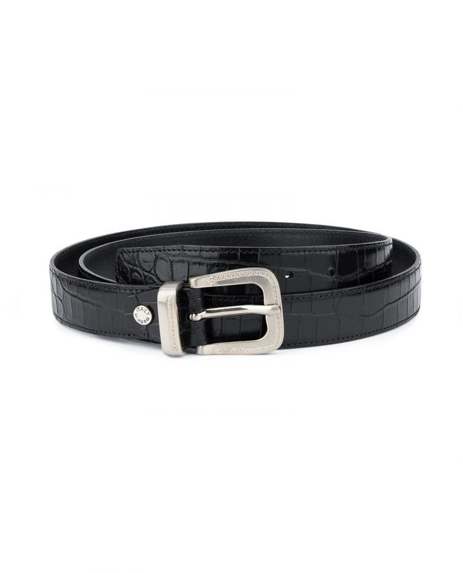 Black Crocodile Embossed Leather Belt For Men 1