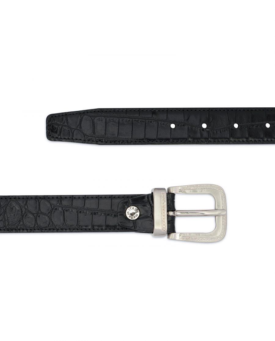 Black Crocodile Embossed Leather Belt For Men 2