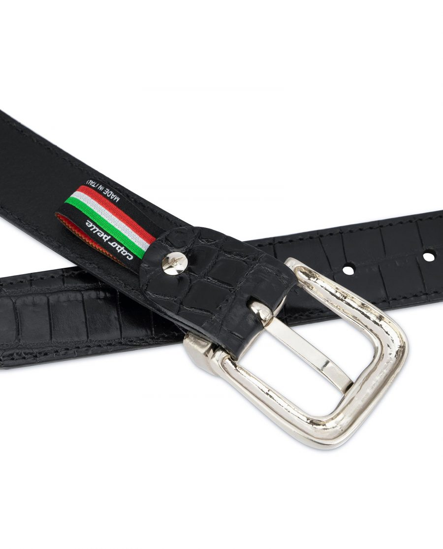 Black Crocodile Embossed Leather Belt For Men 3