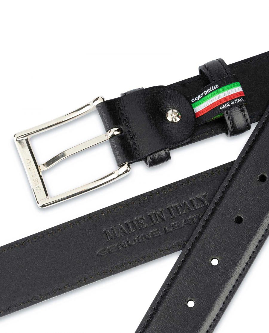 Black Dress Pants Belt for Men Stitched 4