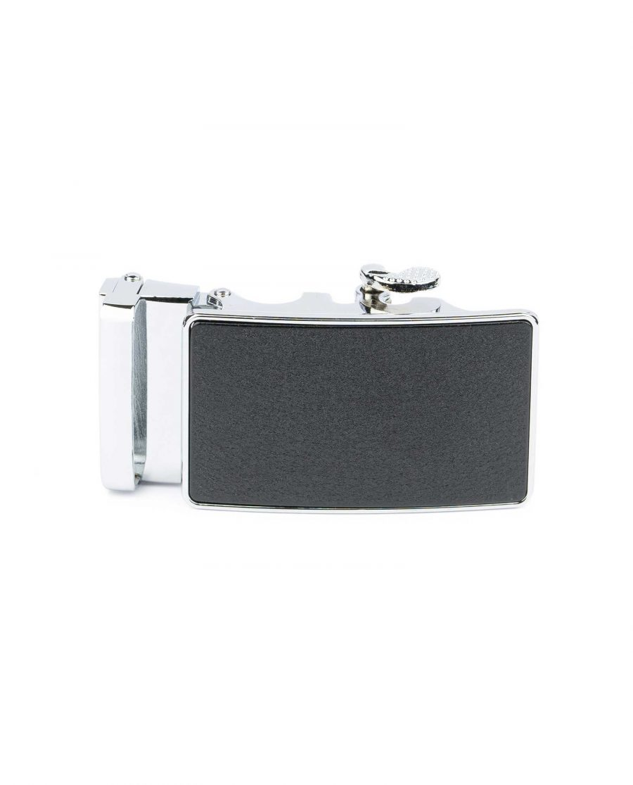 Black Ratcheting Belt Buckle for Men Front