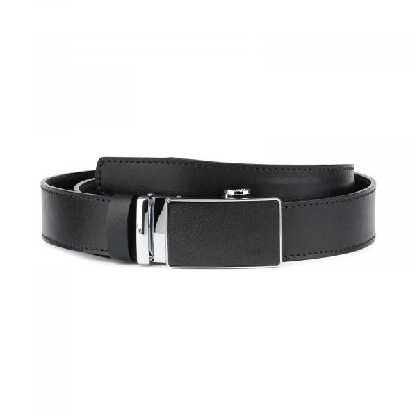Black Ratcheting Leather Belt for Men 1