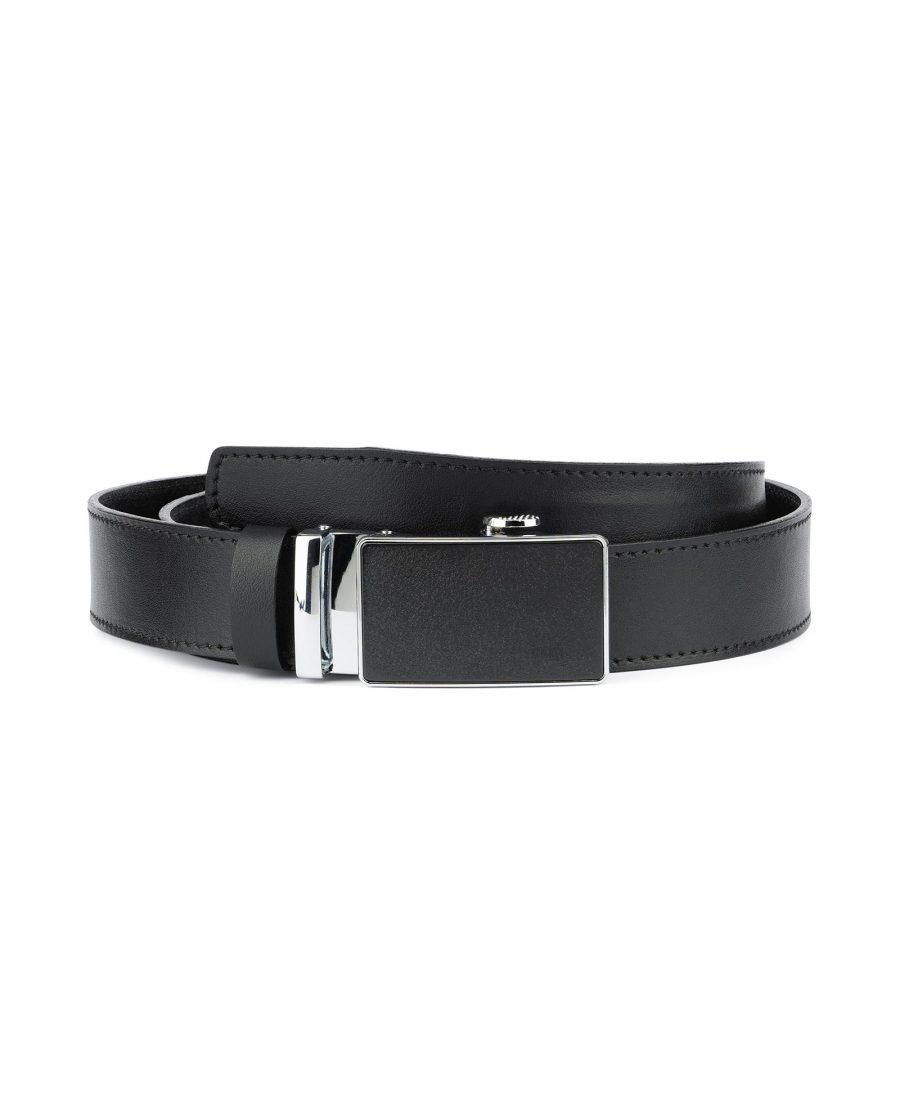 Black Ratcheting Leather Belt for Men 1