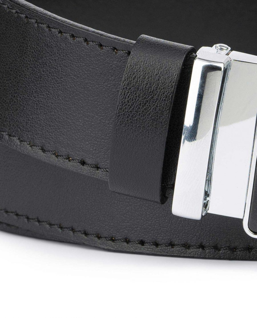 Black Ratcheting Leather Belt for Men 2