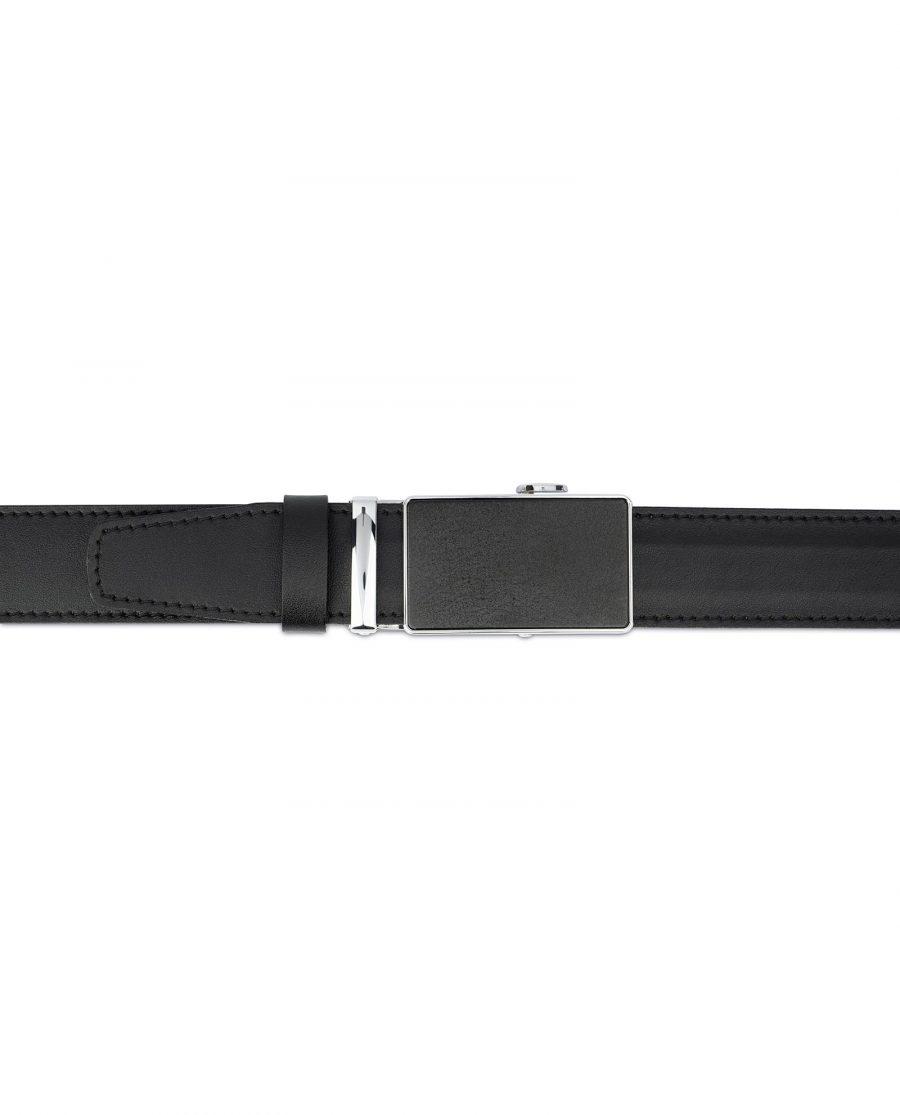 Black Ratcheting Leather Belt for Men 4