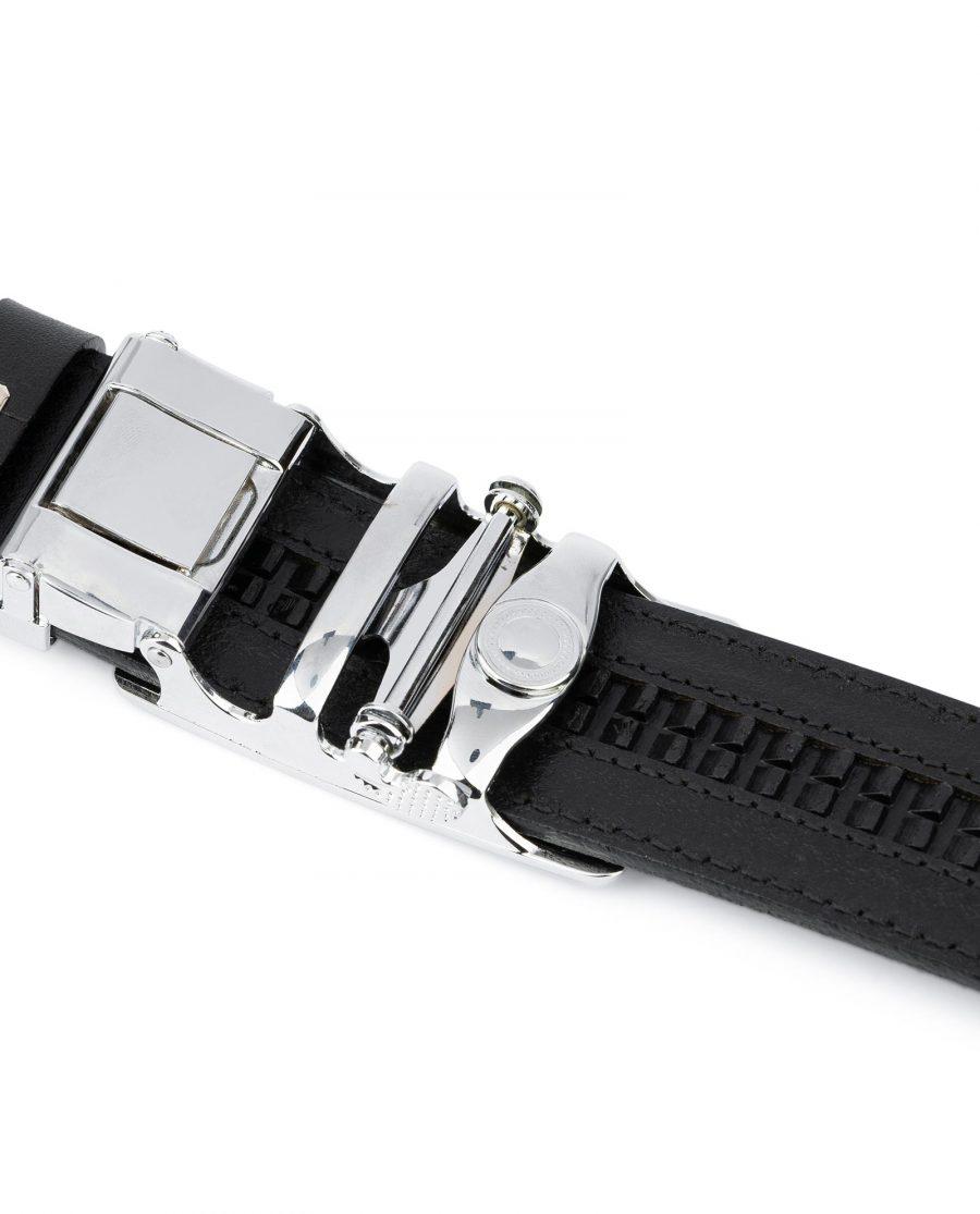 Black Ratcheting Leather Belt for Men 6