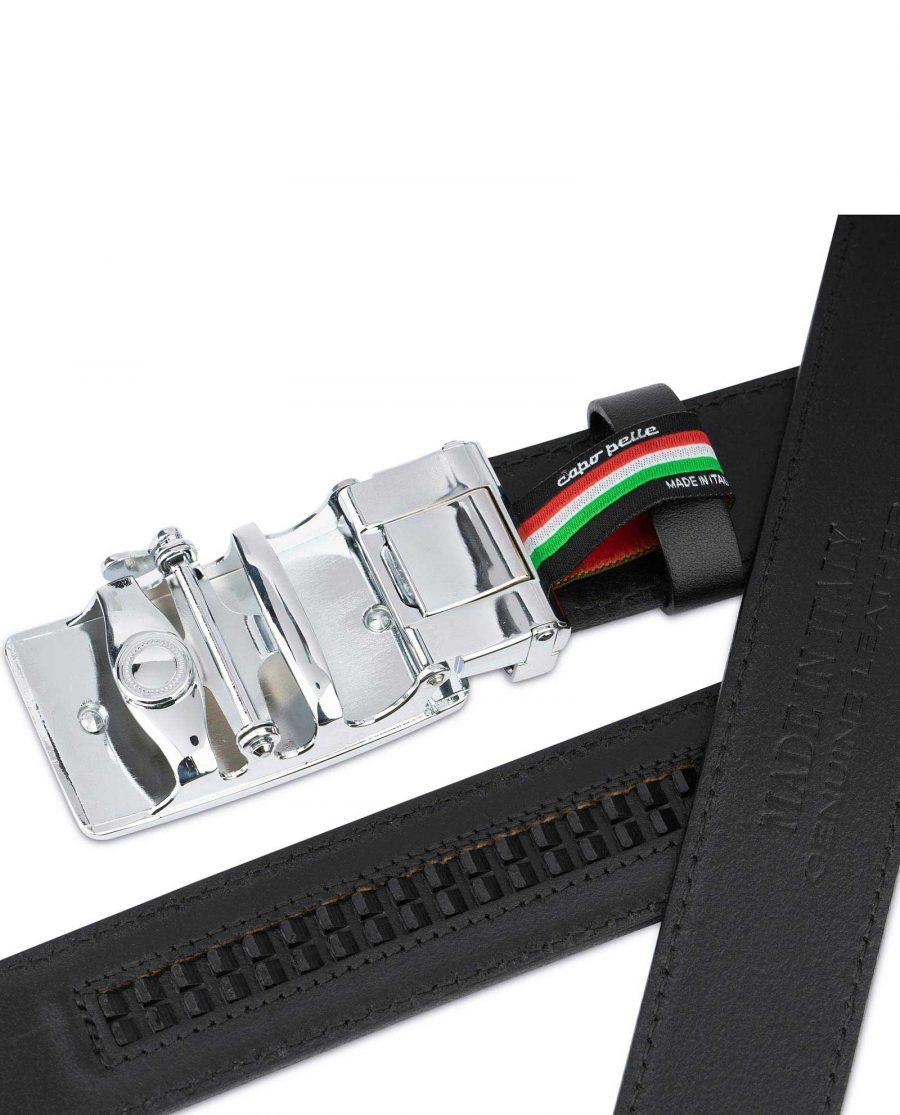 Black Ratcheting Leather Belt for Men 7