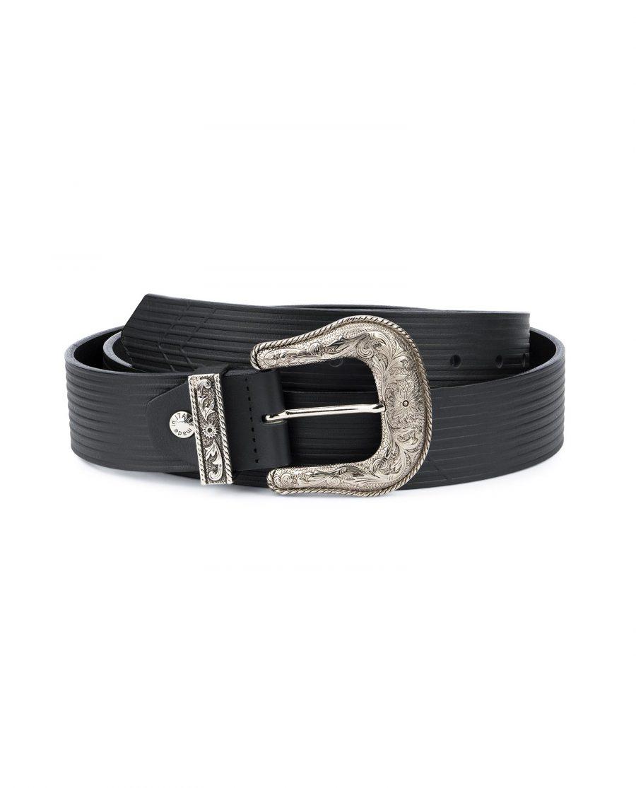 Black Western Belt Wide Embossed Leather 1