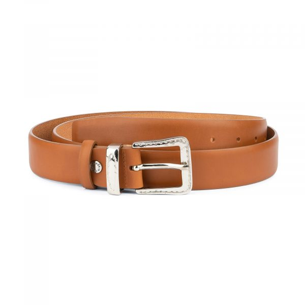 Brown Western Belt with Silver Buckle 1