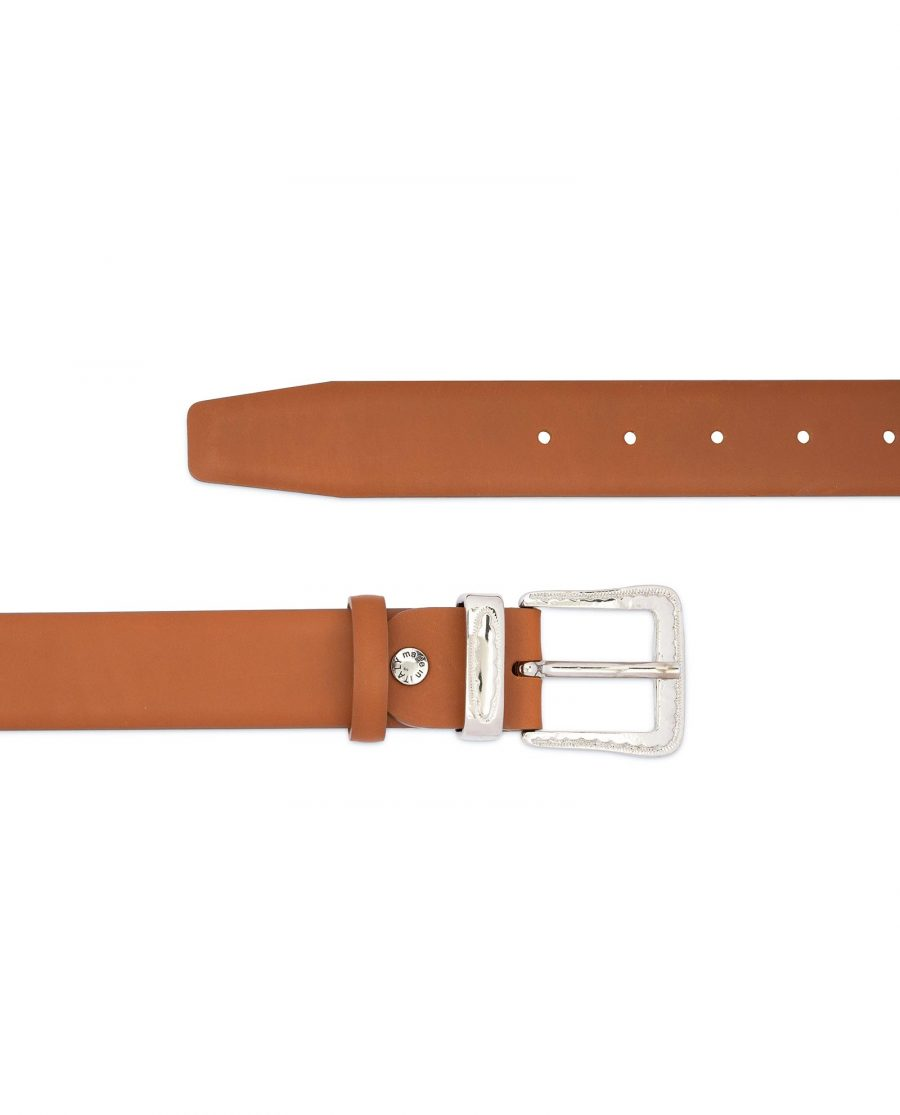 Brown Western Belt with Silver Buckle 2
