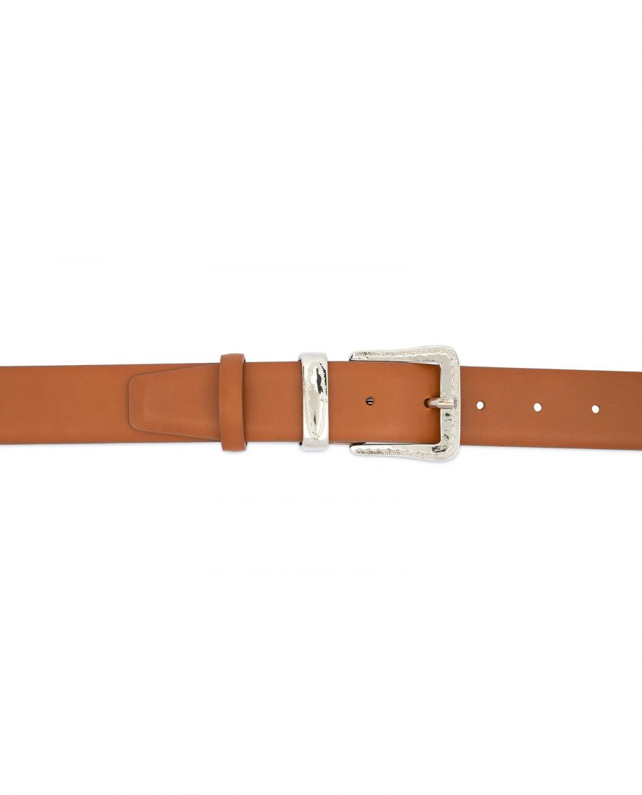 Brown Western Belt with Silver Buckle 3
