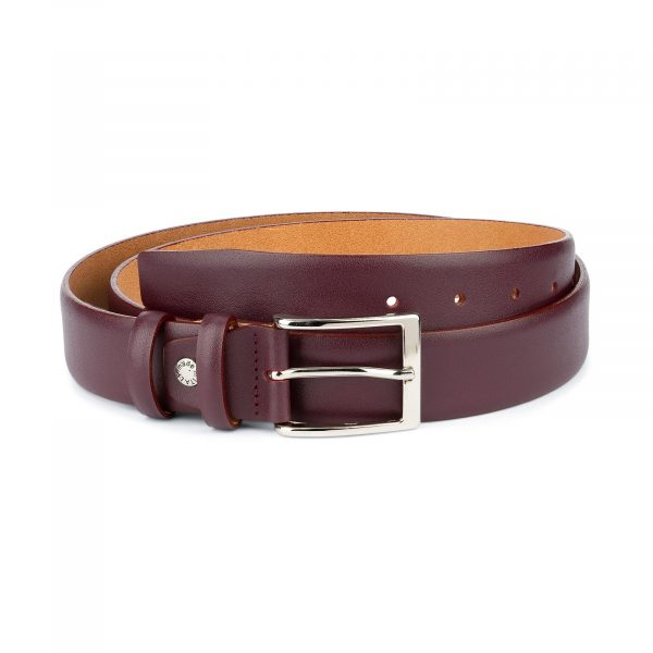 Burgundy Belt for Men Genuine Leather 1