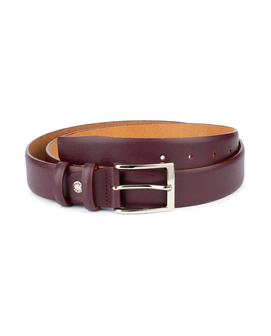 Burgundy Belt for Men Genuine Leather 1