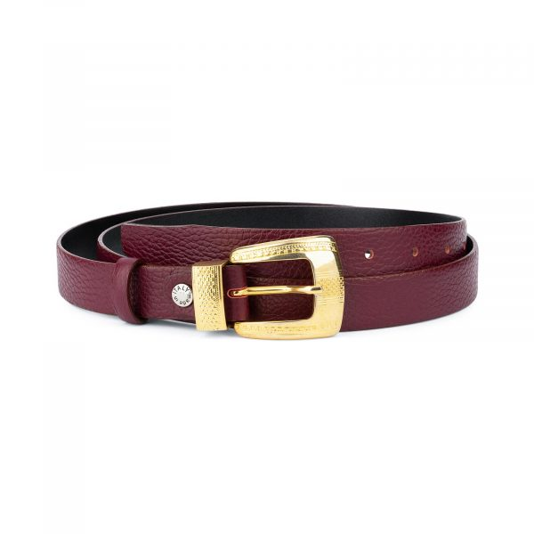 Burgundy Belt for Women Gold Buckle 1