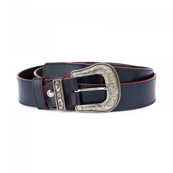 Cowboy Western Belt Dark Blue Leather 1