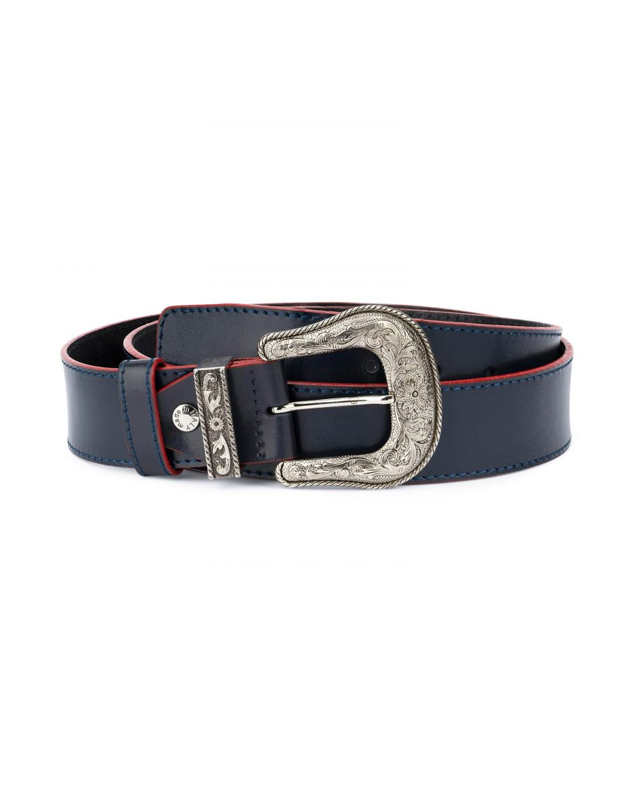 Cowboy Western Belt Dark Blue Leather 1