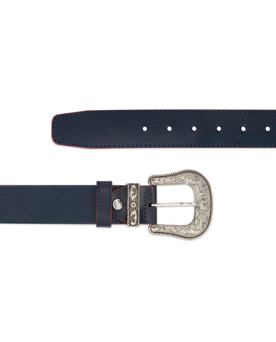 Cowboy Western Belt Dark Blue Leather 2