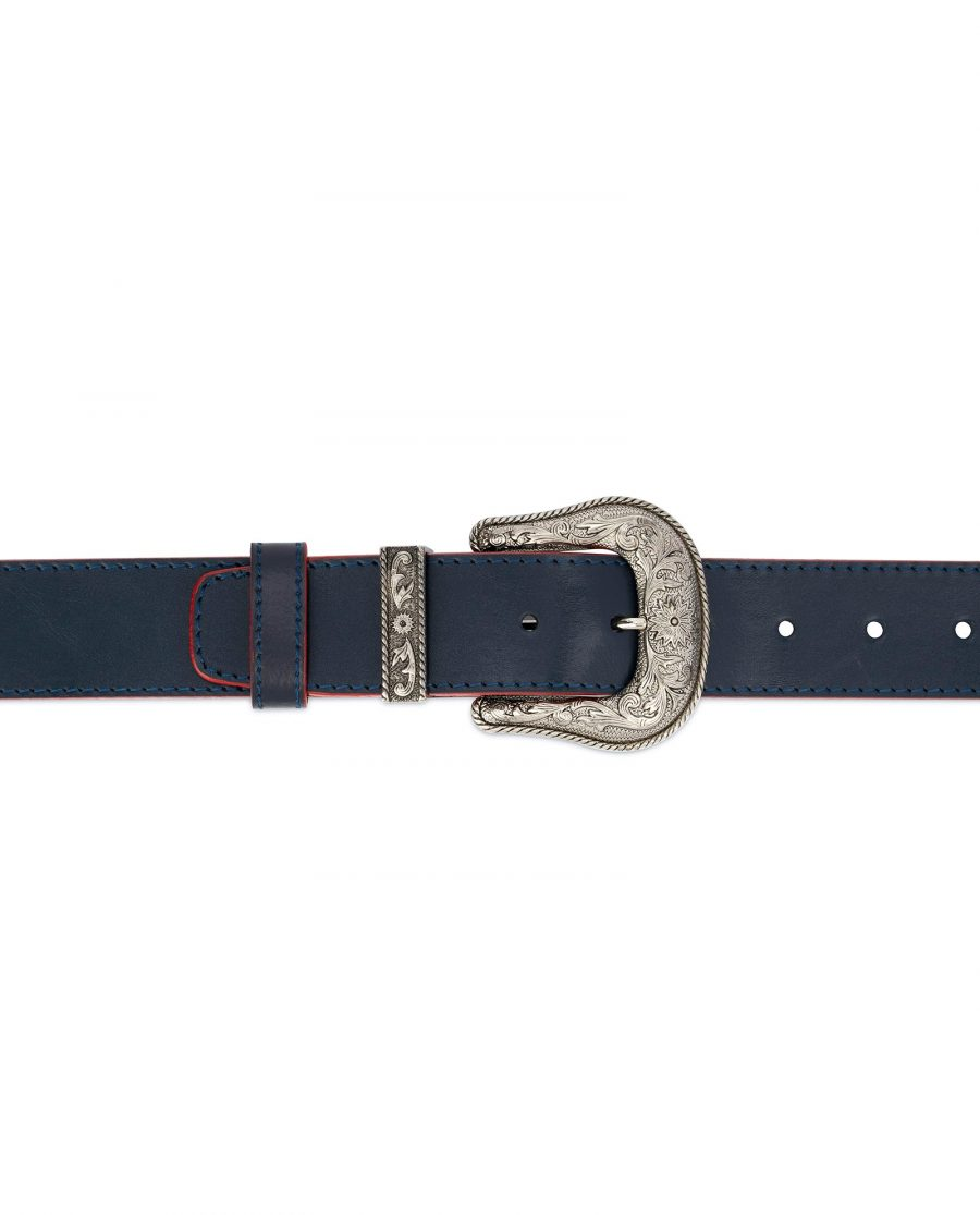 Cowboy Western Belt Dark Blue Leather 3