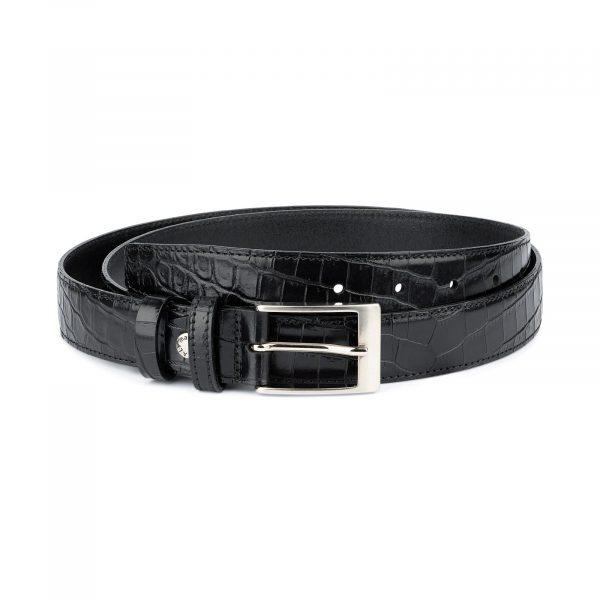 Croco Belt for Men Black 3 0 cm 1