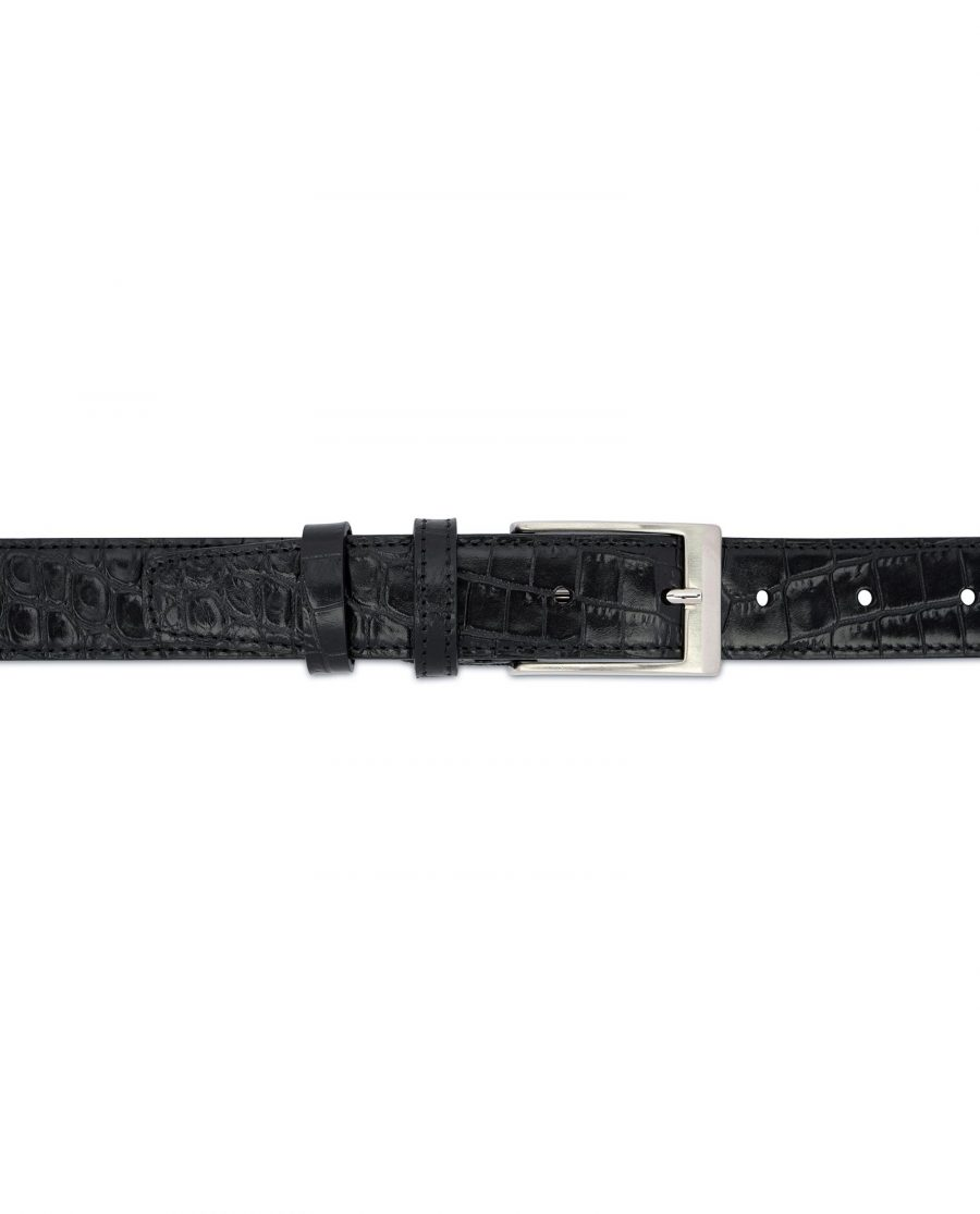 Croco Belt for Men Black 3 0 cm 2