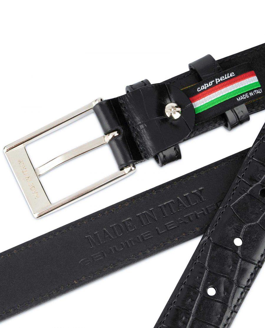 Croco Belt for Men Black 3 0 cm 4