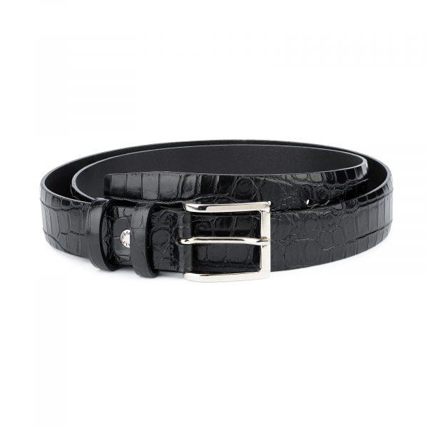 Crocodile Belt for Men Black 3 5 cm 1