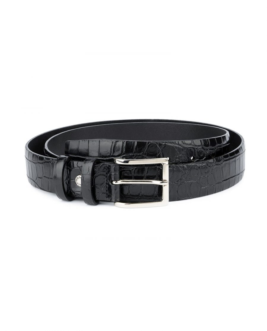Crocodile Belt for Men Black 3 5 cm 1