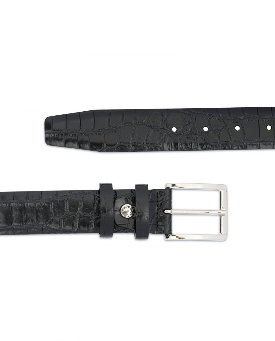 Crocodile Belt for Men Black 3 5 cm 2