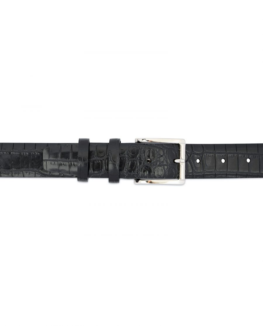 Crocodile Belt for Men Black 3 5 cm 3