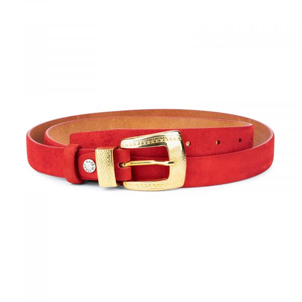 Ladies Red Suede Belt with Gold Buckle 1