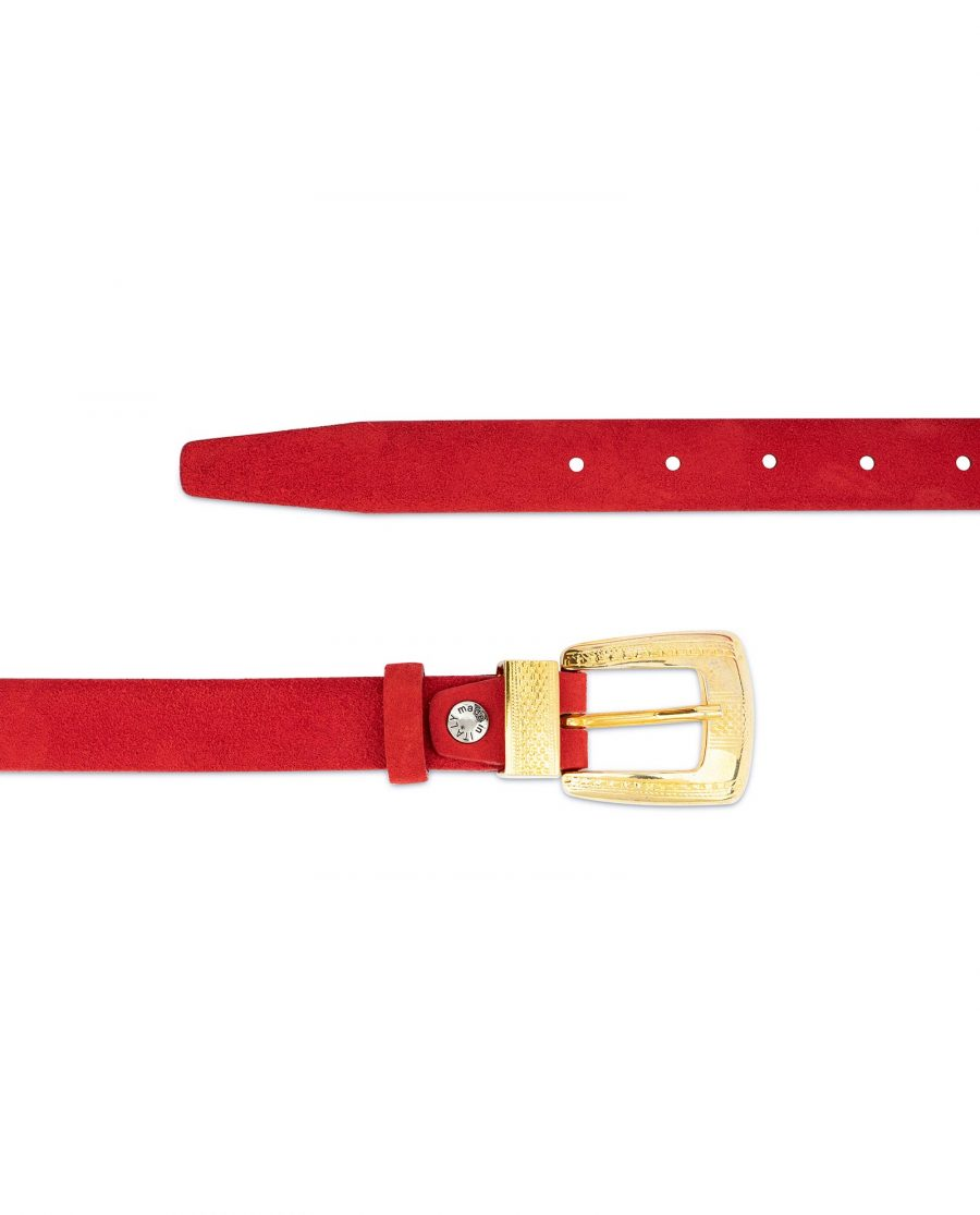 Ladies Red Suede Belt with Gold Buckle 2