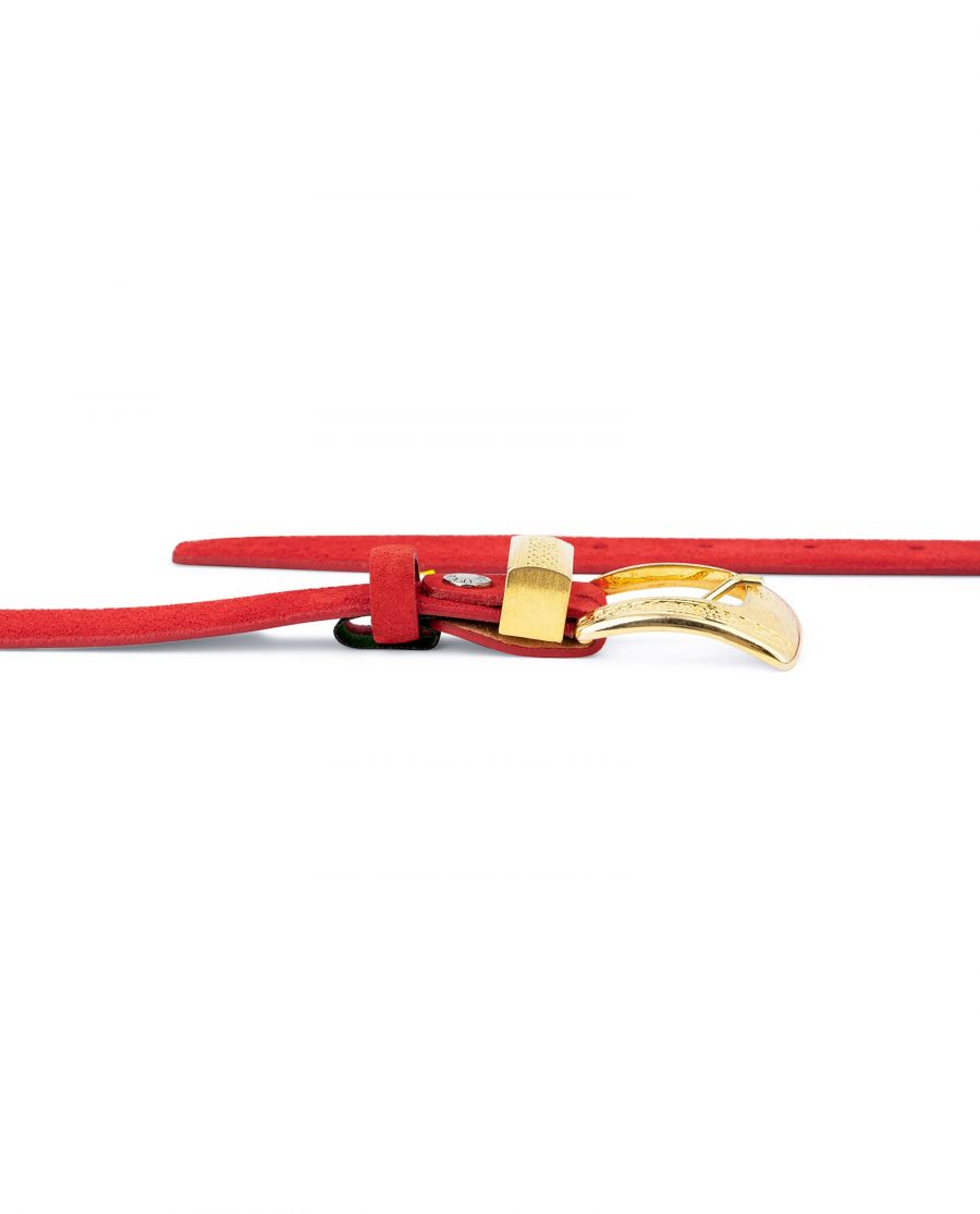 Ladies Red Suede Belt with Gold Buckle 3