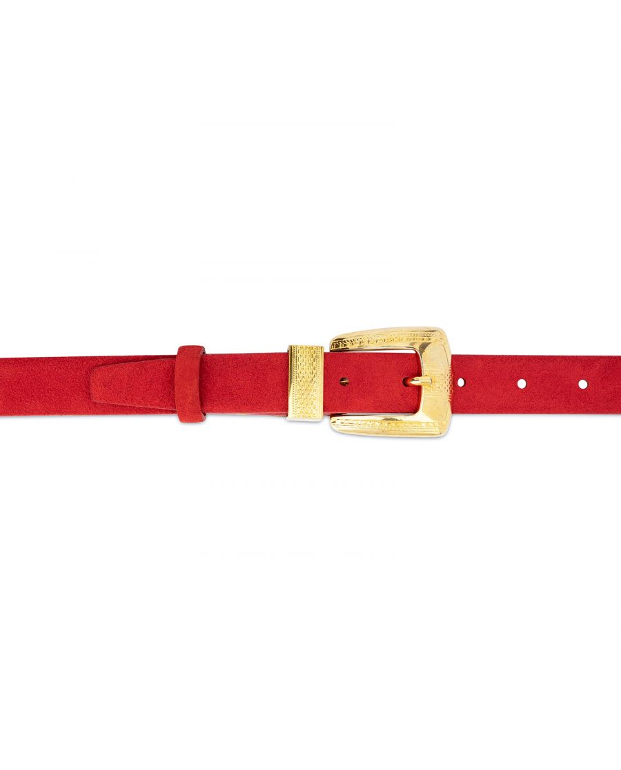 Ladies Red Suede Belt with Gold Buckle 4