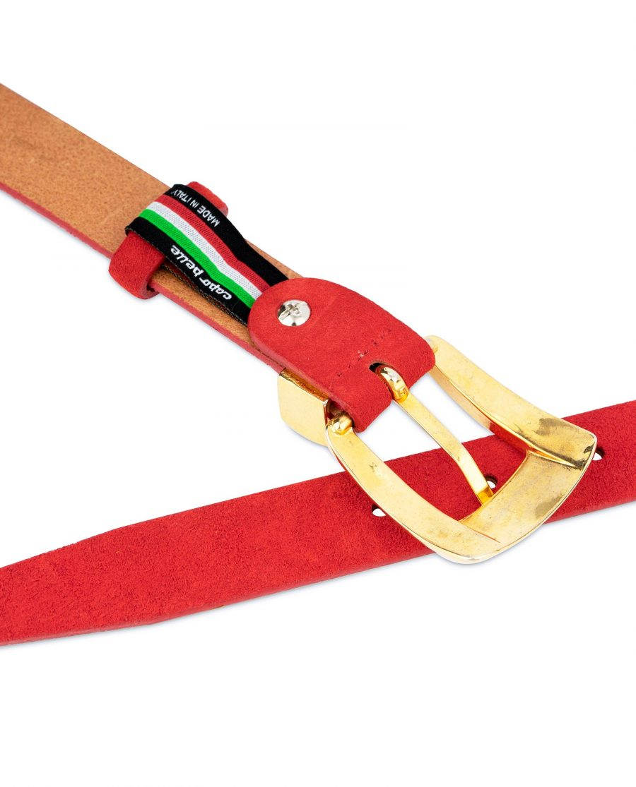 Ladies Red Suede Belt with Gold Buckle 5