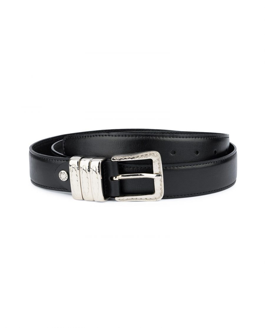 Leather Belt with Metal Loops Black Leather 1