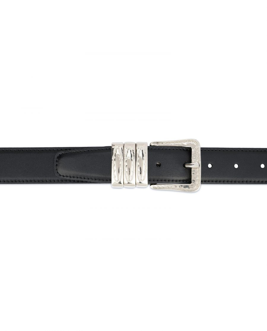 Leather Belt with Metal Loops Black Leather 3
