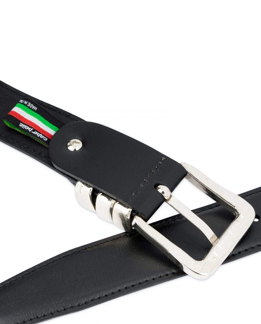 Leather Belt with Metal Loops Black Leather 4