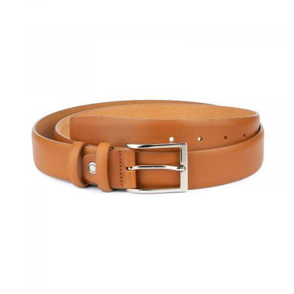 Light Tan Mens Belt Soft Italian Leather 1