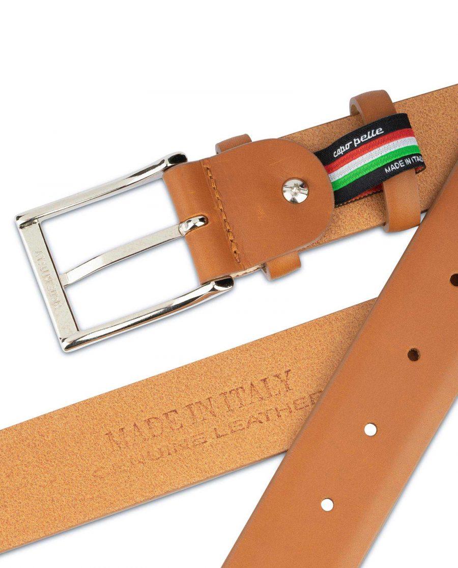 Light Tan Mens Belt Soft Italian Leather 4