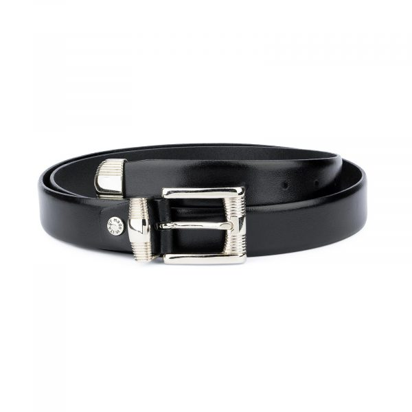 Mens Belt With Metal Tip Black Real Leather 1