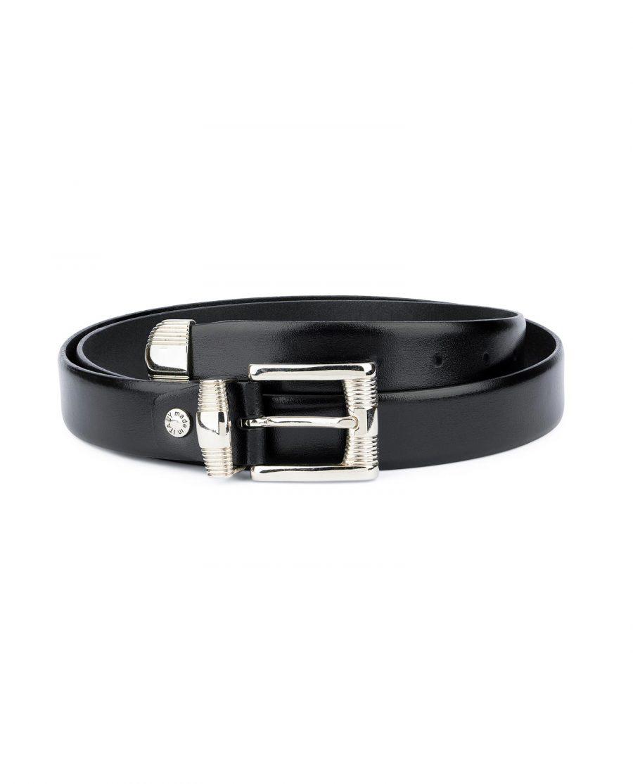 Mens Belt With Metal Tip Black Real Leather 1