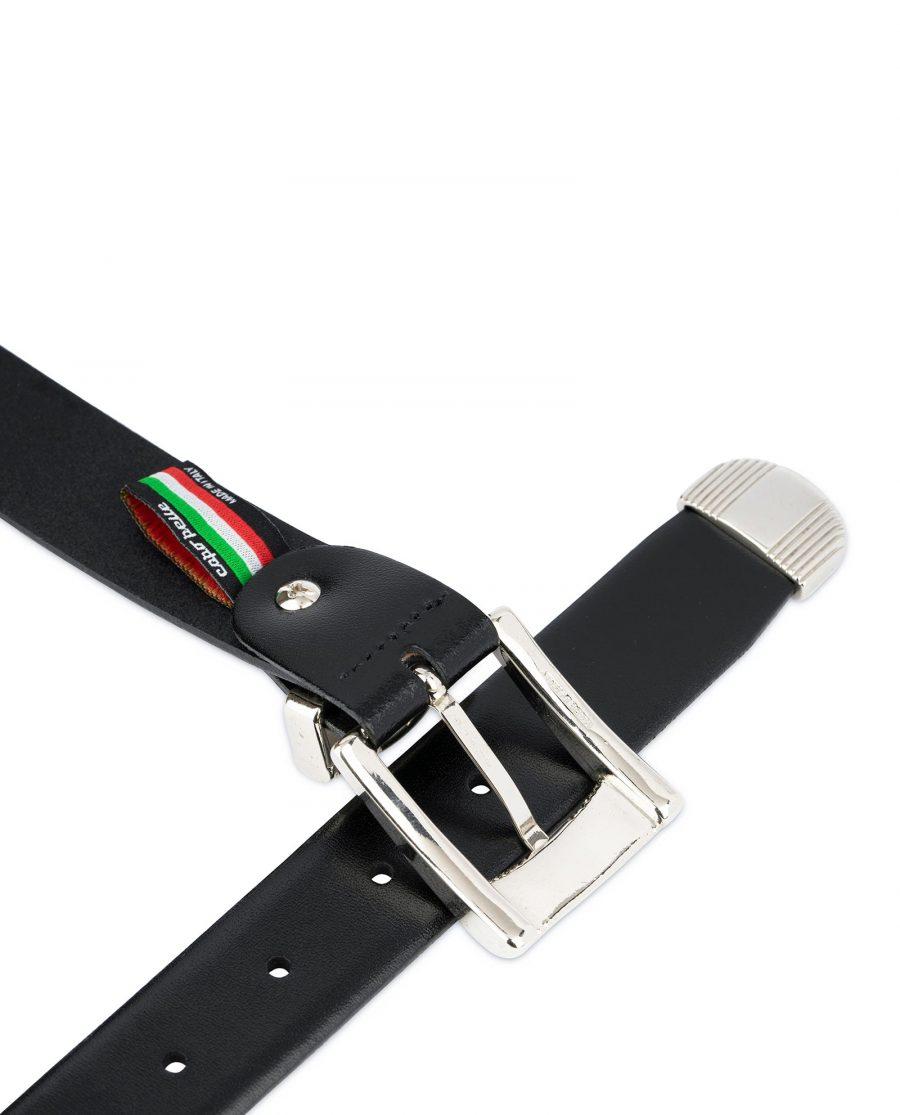 Mens Belt With Metal Tip Black Real Leather 3