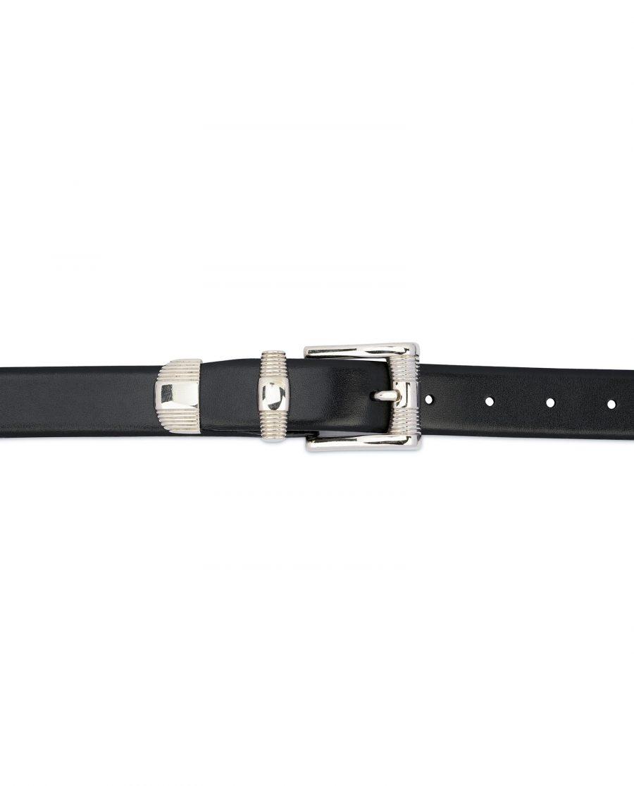 Mens Belt With Metal Tip Black Real Leather 4