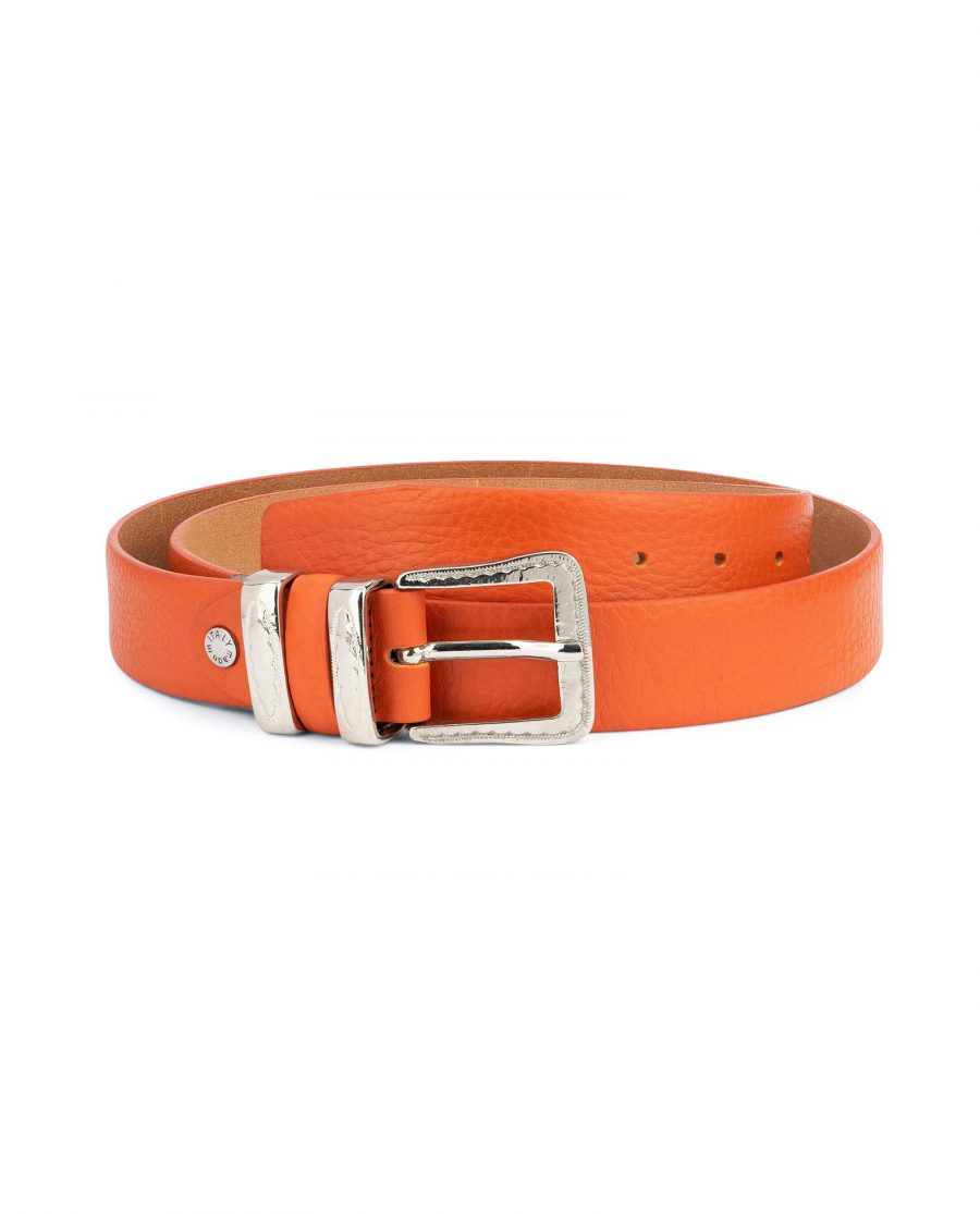 Mens Orange Belt with Western Buckle 1