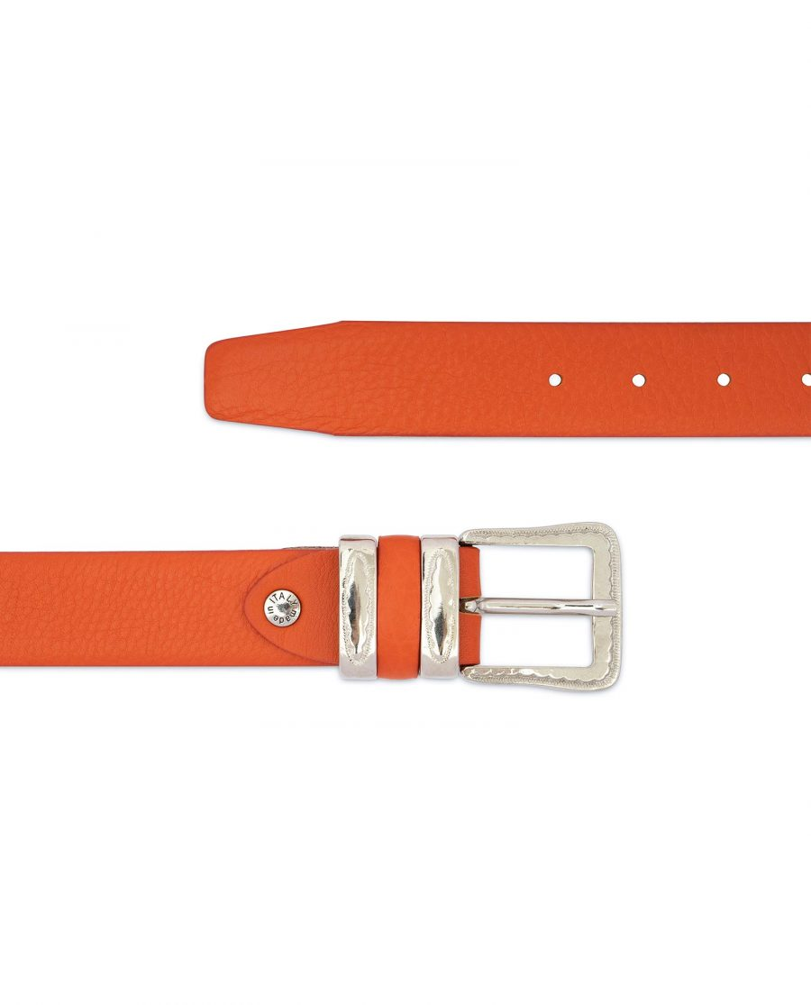 Mens Orange Belt with Western Buckle 2