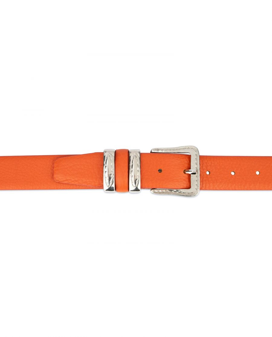 Mens Orange Belt with Western Buckle 3